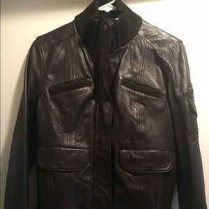 MNG Casual Sportwear Leather Jacket. Dark brown.